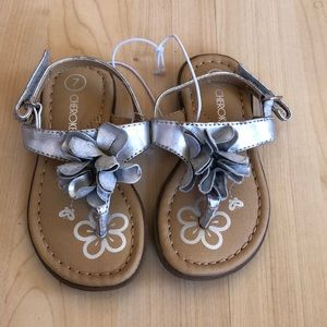 Toddler Silver Sandals with Flower